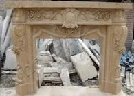 Hand Carved Marble Fireplace Mantel with Shield Carving and Rosette Swags, Beige #3955