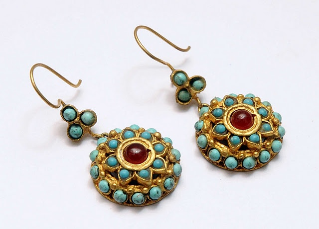 Ethnic earrings turquoise