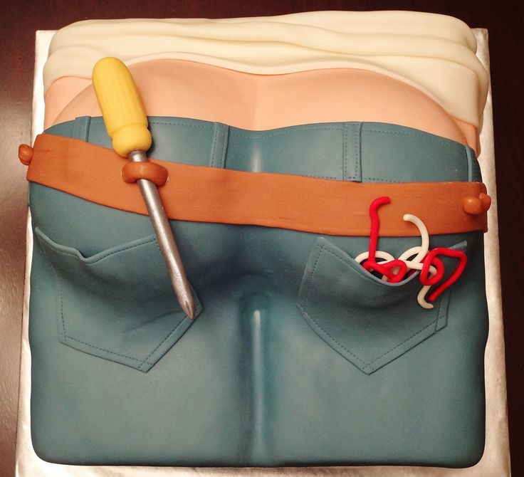 """- This cake was for a guy who was graduating from his electrician's apprenticeship. His wife wanted a """"electrician's butt"""" cake. All fondant covered, tools and wire are gumpaste."""