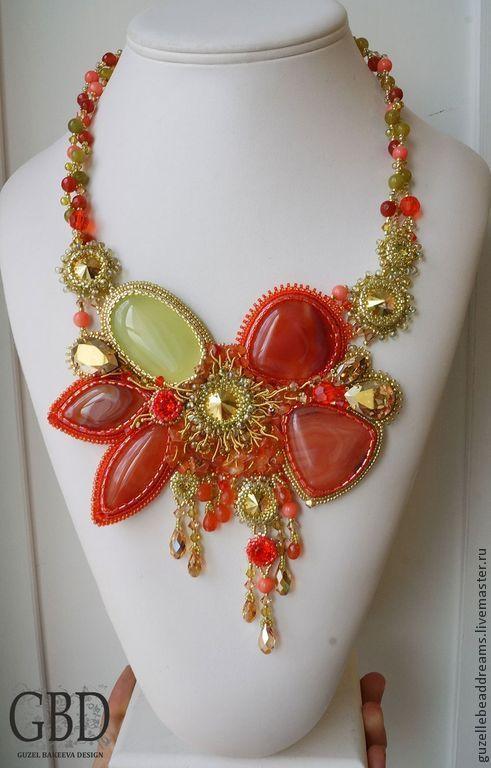 Купить Фламинго - ярко-красный, золотой, лимонный, виноградный, алый, фламинго, сочный, сердолик
