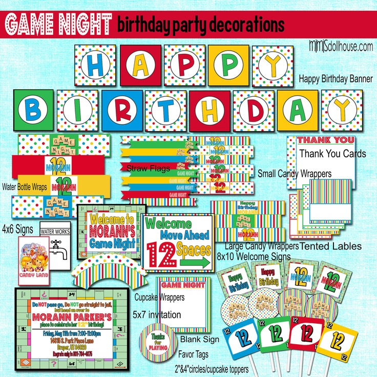 Game Night Decorations- Printable Board Game Birthday Party Decorations  PDF/JPEG- As Seen