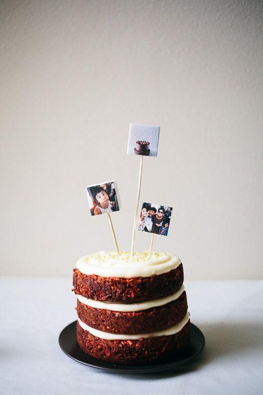 Marshmallow instagram cake toppers.