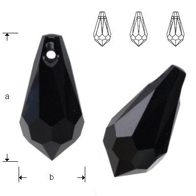 6000 Drop 18x9mm Jet  Dimensions: 18,0 x 9,0 mm Colour: Jet 1 package = 1 piece