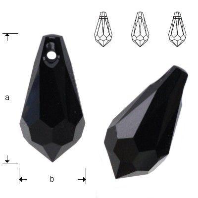 6000 Drop 18x9mm Jet  Dimensions: 18,0 x 9,0 mm Colour: Jet 1 package = 1 piece