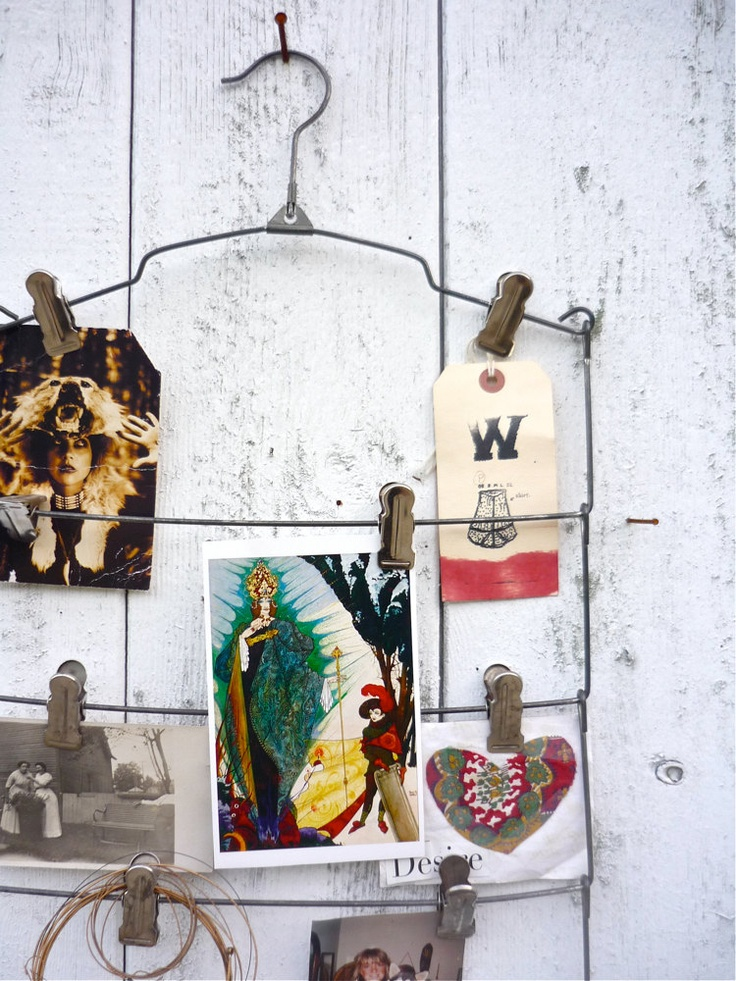 vintage skirt hanger / industrial photo display / mood board. Love this to display pictures
