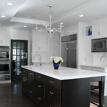 White Kitchen Cabinets With Espresso Island Transitional