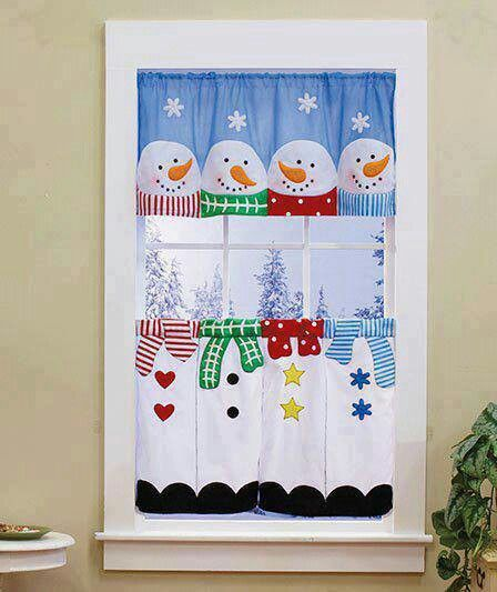 Dress Up Your Windows For Winter With This Snowman Curtain Set. Four Happy  Snowmen With Different Colored Scarves And Buttons Stand Together.
