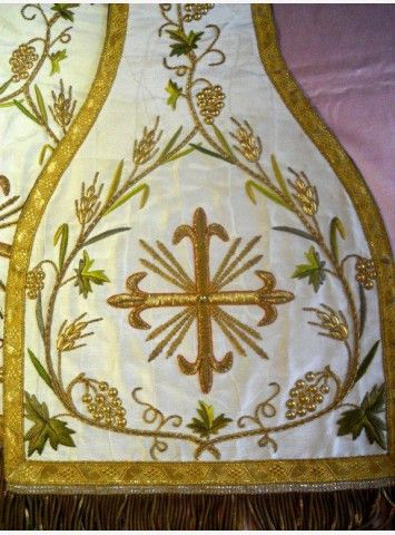 French antique stole silk and religious embroidery