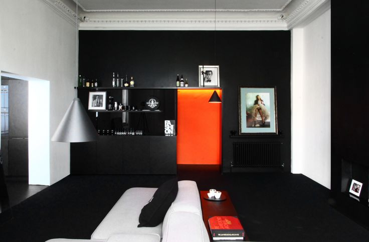 Black orange and white minimalist for Minimalist victorian living room