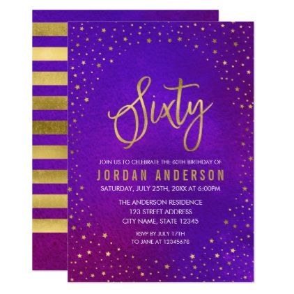 #Starry Purple Watercolor 60th Birthday Invitation - #birthdayinvitation #birthday #party #invitation #cool #parties #invitations