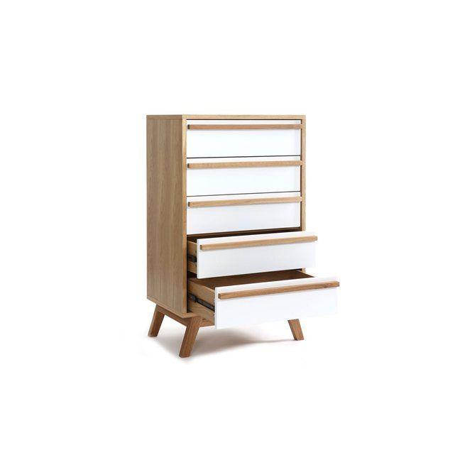 chiffonnier semainier 5 tiroirs design scandinave helia miliboo kids room pinterest design. Black Bedroom Furniture Sets. Home Design Ideas