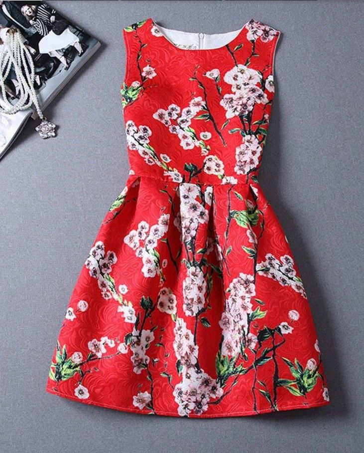 Elegant Red A Line Dress with Cherry Blossoms ...simple and pretty #dress ##