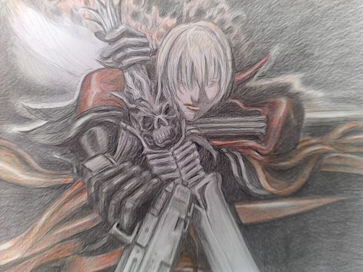Another challenge my brother set for my mum. I think this one is from Devil May Cry? she had pictures to work from but once again she nailed it. it was done in colour pencil.