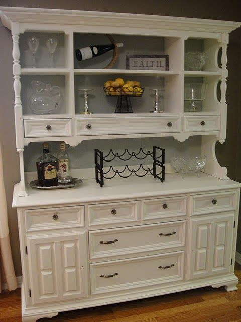 Another Beautiful Hutch Makeover. Maybe white not bad if have back with nice subtle color