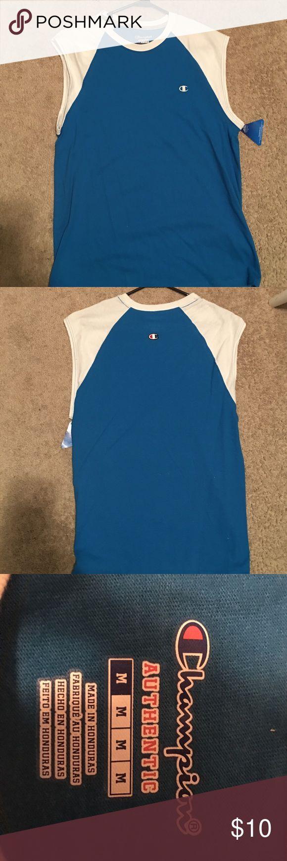 Sleeveless Champion Shirt Blue/White Athletic Sleeveless Champion shirt *Never Been Worn* Champion Shirts