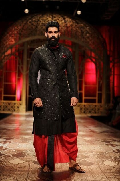 Long Sleeveless Jacket on Kurta with complementary Dhoti - Indian Outfit