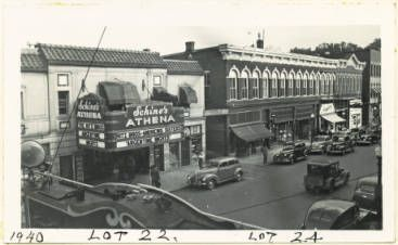 Athena Cinema looking southeast from across Court Street. Probably shot from the Varsity Theater sign. 1940 :: Ohio University Archives