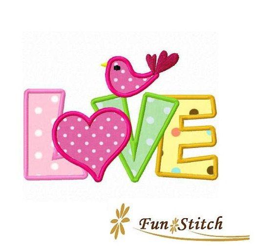 Love bird applique machine embroidery design