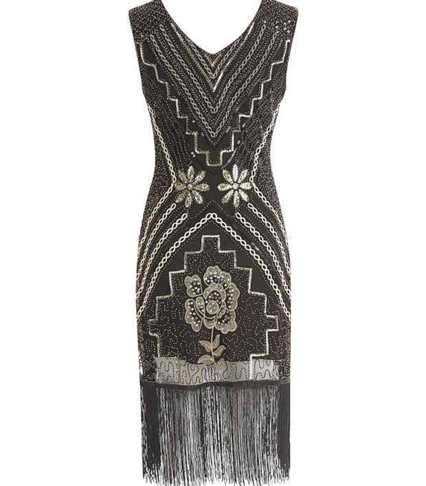 1920s Sequined Fringe Flapper Dress : 1920s Sequined Fringe