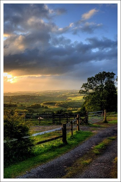 Evening in Rural Monmouthshire, Wales even though i was 7 when i went there it was beautiful