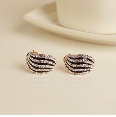 New Stylish Zebra Design Crystal Women S Stud Earrings Vancaro Pinterest And Studs