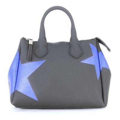 Borsa a mano Gum Gianni Chiarini Design in gomma nera stella blu elettrico