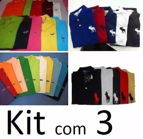 kit 3 camisas polo masculina camisetas polo pronta entrega