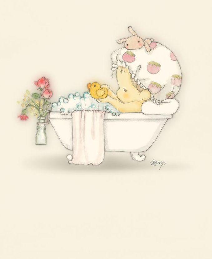 Risco de Bebê na Banheira para Pintura em Tecido