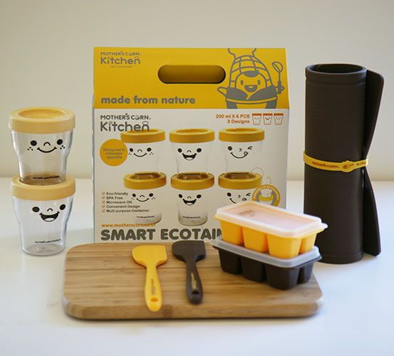 Winning Mum Set | A perfect package to assist new/first-time mums in the kitchen. Baby-sized kitchen utensils (silicone spatula, cutting board & freezer cubes) to match baby-size meals. Smart Ecotainer Set is popular for its versatile use for storage / drink / solids.