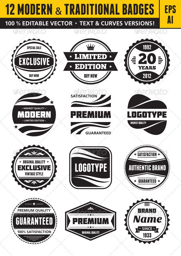 12 Modern & Traditional Badges - Decorative Symbols Decorative
