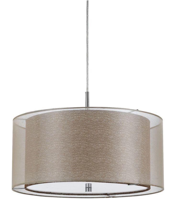 double shade sheer fabric burlap modern drum pendant light