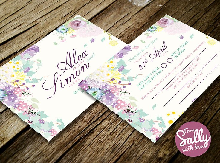 Floral RSVP for a bespoke wedding invitation inspired by a love of A Midsummer Night's Dream using pastel shades and a soft romantic, organic look.   http://www.fromsallywithlove.co.uk  #bespoke #personalised #custom #engaged #floral #flowers #pastels #pink #purple #amidsummernightsdream #elegant #engaged #love #sheets #RSVP #map #wedding #invitation #stationery