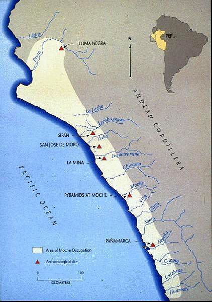 Map of the Moche civilization showing the locations of ...