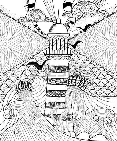 Elle çizilmiş yetişkin boyama, etnik Deniz Feneri, desenli Denizanası ve doodle Süs bulutlar, zentangle kabile tarzı, dövme tasarım ile sanatsal Deniz. Deniz vektör çizim.