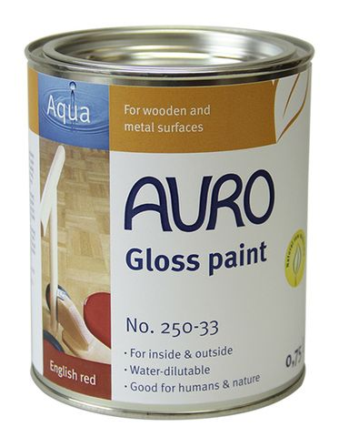 An excellent natural and eco friendly water based gloss paint for interior and exterior wood. A top selling Auro non toxic and safe wood gloss paint