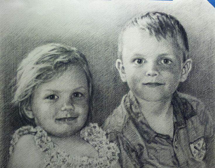 Hanna and Heine,   charcoal