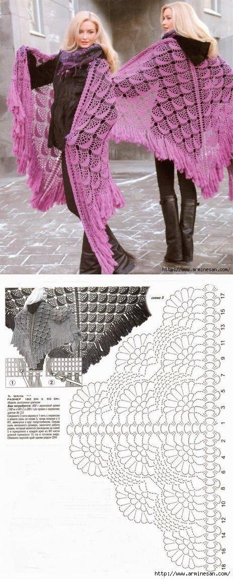 Bom dia fiorellini, tudo bem com vocês ?  vim dividir com vocês esse belíssimo xale de crochê super fácil de fazer e com gráfico.  tem post...
