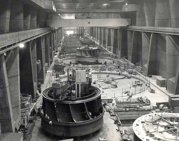 1970 Grand Coulee Dam, Third Power Plant. Installation of One Turbine Runner G20. Another Turbine in the Foreground.