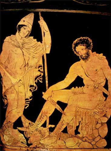 Here is Tiresias, the blind prophet sitting and holding the knife.  He is the classic blind prophet.  He is the one who lays the hard truth on Oedipus, telling him he killed Laius, the former king of Thebes and his father.  At first Tiresias was reluctant to reveal who it was but in anger he told Oedipus.  In disbelief, he cast him out.