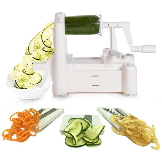Spiraalsnijder / Groentesnijder met 3 Snijbladen voor Groentespiralen, Plakjes, Boogjes en Juliennes (groente spiraal en julienne snijder, fruit snijmachine, spiralizer)