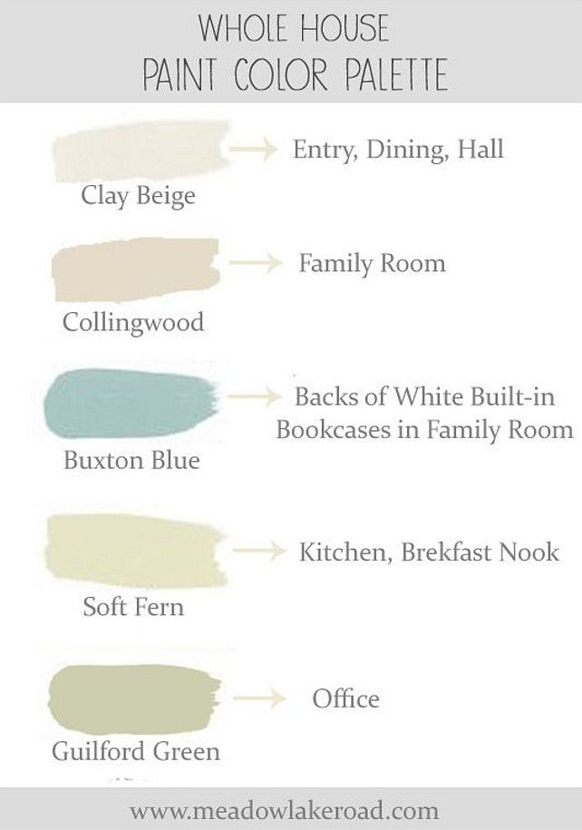Color Palette Ideas. Whole house soothing paint color palette for an open concept home. #ColorPalette #InteriorPaintColor Via Meadow Lake Road