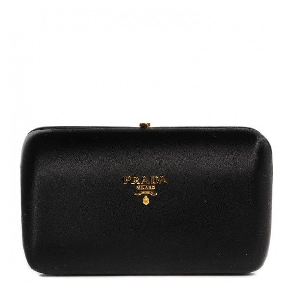 PRADA Raso Satin Box Clutch Nero Black ❤ liked on Polyvore featuring bags, handbags, clutches, special occasion clutches, satin handbags, hard clutch, box clutch and kiss-lock handbags