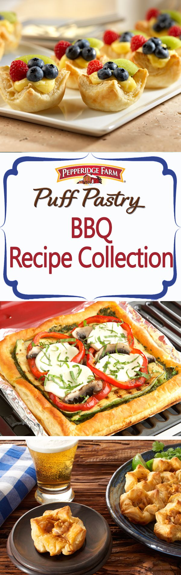 Puff Pastry BBQ Recipe Collection. Every great BBQ deserves fantastic food! Don't miss this ultimate list of our favorite backyard cookout foods from spicy Mexican Chicken Puffs that pair perfectly with a cold beer, to grilled veggie Puff Pizza and perfectly pretty berry tarts. Throw an unforgettable event with these simple additions to your menu.