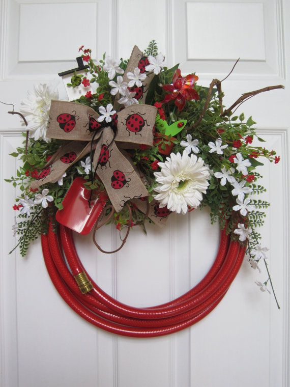 Red Garden Hose Wreath Ladybug Theme Free Shipping By FunFlorals