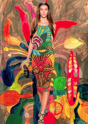 'Red Pepper' painting~ Miroco Machiko, Alberta Ferretti S/S 12