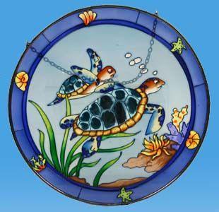 stained glass sea turtle suncatcher