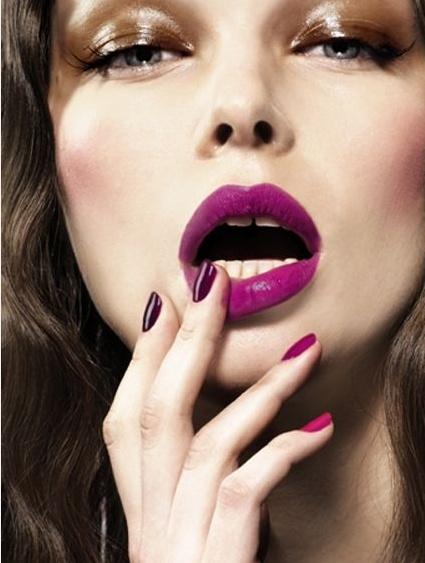 Purple lips!  ombre nails, burgundy lips and metallic eyes