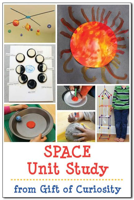 Lots of hands-on learning ideas for a space unit study focused on astronauts, the planets, the sun, the moon, and the stars. Great for kids pre-K to 2nd. || Gift of Curiosity