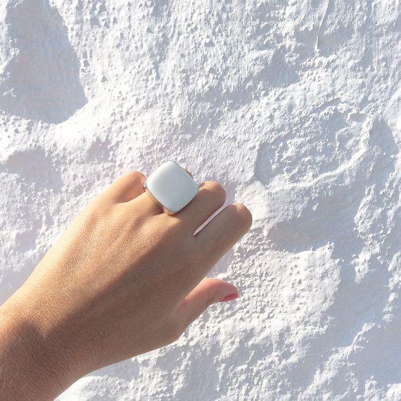 Griekse zomer sieraden moderne bruids ring witte ring door xroma