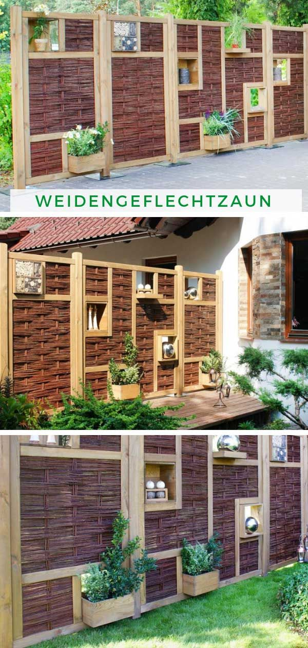Alpholz Nabil 3d Weidengeflechtzaun Element Mit 2 Fenster Sichtschutz Garten Sichtschutzzaun Garten Gartengestaltung